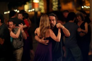 Couple dancing at an Argentine Tango Night Event