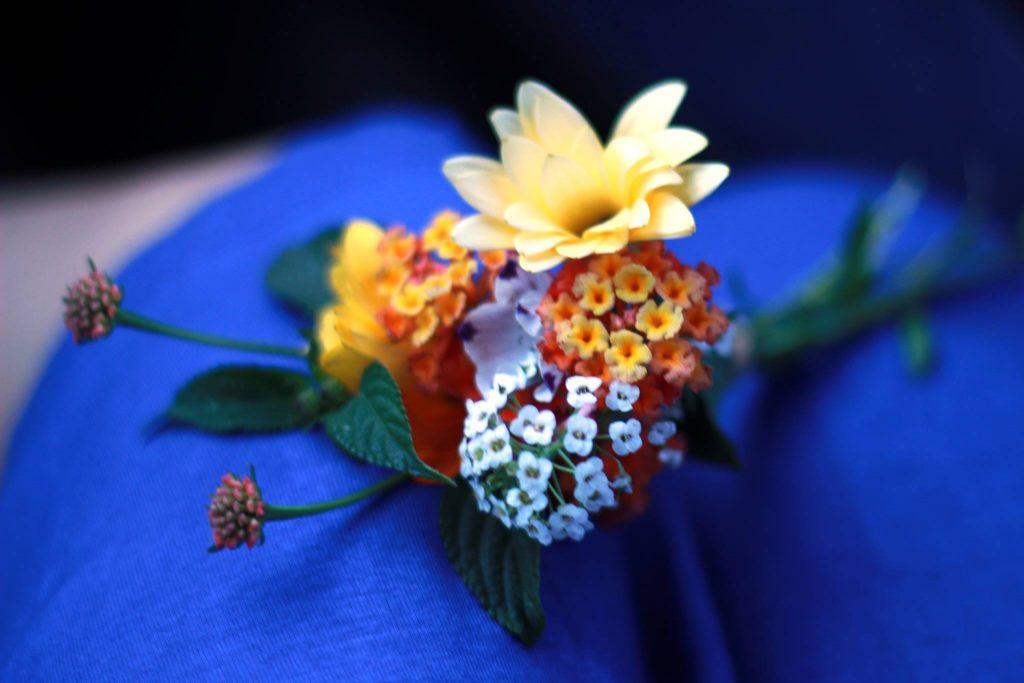 Lantana flowers on a vivid blue dress