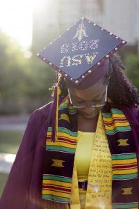 Senior Portrait of University/College Graduate at Arizona State University in Daylight